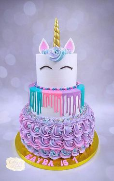 Unicorn Cake by Cakes & Bakes by Asmita – kids baking ideas Easy Unicorn Cake, Unicorn Cake Pops, Unicorn Cakes, Unicorn Rainbow Cake, How To Make A Unicorn Cake, Rainbow Cakes, Unicorn Foods, Cute Birthday Cakes, Unicorn Birthday Parties