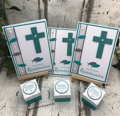 Kommunion/Konfirmation Invitation cards and favors to communion Framelits Cross of Hope stamp set Bl Vintage Wedding Invitations, Wedding Invitation Wording, Invitation Cards, Wedding Favors, Party Invitations, Wedding Party Shirts, Best Wedding Gifts, Wedding Parties, Stampin Up