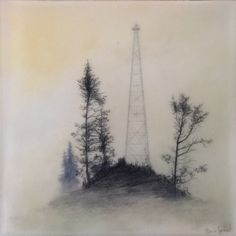 Brooks Shane Salzwedel, Atop, 2013, graphite, watercolor, on mylar on panel, resin, 5 x 5 inches