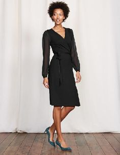 #Boden Leda Wrap Dress Black Women Boden, Black 36087609 #May we present your new go-to wrap dress. Sheer feminine sleeves with gathered cuffs are ingeniously paired with a low V-neck to create this little masterpiece. Were not promising anything, but you may feel (and look) like a Grecian Goddess.