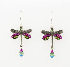 Firefly Pink Color Beaded and Swarovski Crystal  Dragonfly Earring