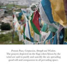 #TibetanPrayerFlags promote #Peace #Compassion  #Strength #Wisdom #bliss #calmness. Live life with #weargrace #yogawear