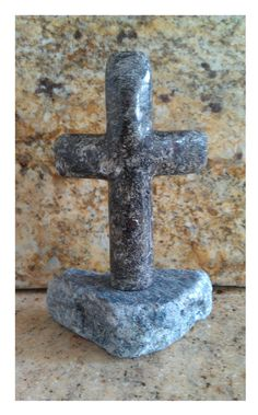 Free standing granite cross. Tumbled honed base with polished cross. 100% recycled stone products by EcoGranite in Farmington Hills MI.