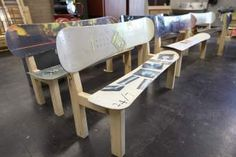 Benches made of wood and snowboards sit at South Tahoe High School on Friday. The furniture was made by wood shop students and are being sold to raise money for the program.