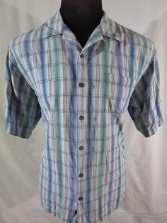 Tommy Bahama Mens Large Shirt Blue Green White Plaid 100% Silk Short Sleeve #TommyBahama #ButtonFront