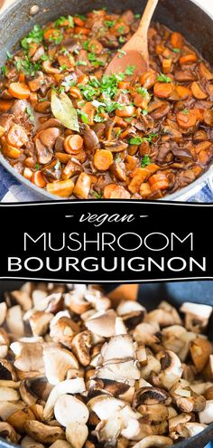 SUB BROTH for 1 cup wine --- Filled with generous chunks of mushrooms and carrots in a rich and creamy red wine sauce, this Vegan Mushroom Bourguignon is a warm and comforting meal that has absolutely nothing to envy to its beefy counterpart! Veg Recipes, Wine Recipes, Vegetarian Recipes, Vegan Sauces, Vegan Dishes, Mushroom Bourguignon, Wine Sauce, Nutrition, Mets