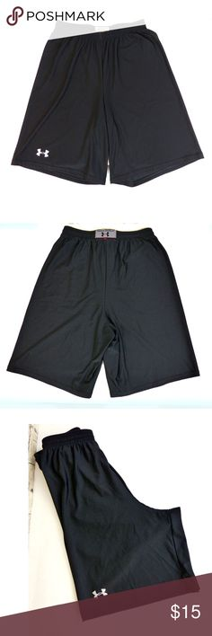 """Under Armour Black Basketball Training Gym Shorts Pre-owned Men's, Under Armour Black Basketball Training Athletic Gym Shorts in size SM with minor fabric snag flaw.  Walking/ Running Shorts in size M. Elastic Waist with drawstring No Pockets Brand long on bottom side of leg and on center back waist Style: VBOD353 80% Polyester, 20% Elastane  Made in Singapore   Size/Measurements: Waist measures: 25"""" stretches to 32"""" Front Rise: 13"""" Inseam: 9 ¼"""" Outseam: 20 ¼"""" Leg Full Opening: 26"""" Back…"""