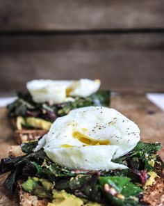 garlicky swiss chard and egg toast | Dishing Up the Dirt