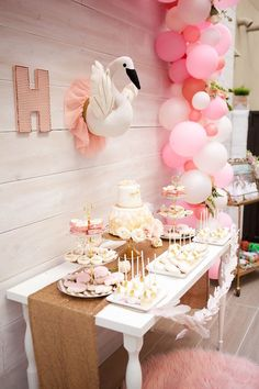Swan dessert table from a Sweet Swan Birthday Party on Kara's Party Ideas | KarasPartyIdeas.com (39)