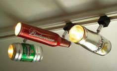 Beer Can & Bottle Track Lighting by Chicago-based Etsy Shop ZAL Creations. The lamps come in different types of cans and bottles from Sapporo, Budweiser, Heineken, and even glass beer mugs. Check out the shop over at ZAL Creations. COSTS: $87