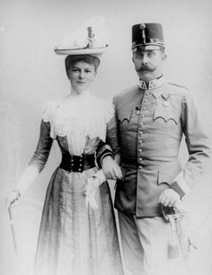 This shows the archduke Franz Ferdinand and hid wife Sofia. This was in the day of their assassination.