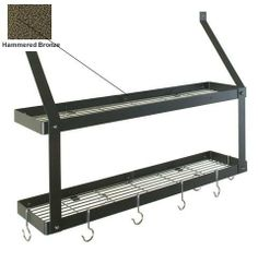 8516 - Rogar International Wall Mounted Pot Rack by Rogar International Corp.. $114.35. Finish Option:Hammered Bronze, Hook Finish Option:Black Wall Mount Double Bookshelf   Amazing storage potential  Double the storage withtwo shelves  Can be used in kitchen, home office, laundry, garage, kid's room etc.  Care instruction: Dust and use soap/water as necessary Includes:  6 eye hooks  2 grid hooks
