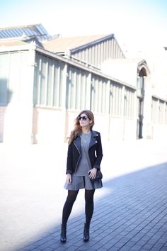 GREY OUTFIT AND BLACK BIKER