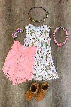 Llama Fringe Vest Dress Set - Sparkle in Pink Kids Outfits Girls, Little Girl Outfits, Little Girl Fashion, Toddler Girl Outfits, Toddler Fashion, Kids Fashion, Girls Dresses, Outfits Niños, Casual Outfits