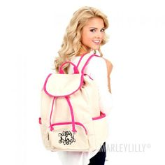 Monogrammed Canvas Backpack | MARLEYLILLY