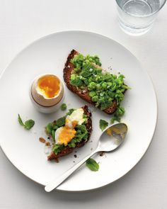 Need a spring crowd-pleaser? Soft-Boiled Egg with Mashed Peas on Toast, Wholeliving.com