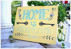 Home Is Wherever I'm With You, Handpainted sign by Onion Grove Mercantile