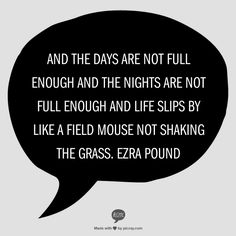 And the days are not full enough  And the nights are not full enough  And life slips by like a field mouse                  Not shaking the grass.    Ezra Pound