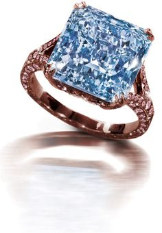 Blue and pink diamond ring set in rose gold. ~ www.diamonds.pro