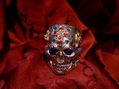 Infernal ring? not: Skull ring dia de los muertos silver and gold precious stones - Dogale Jewellery Venice Italy