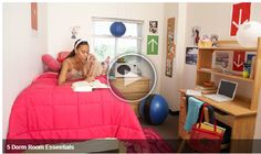 Dorm room decorating can spruce up your living environment, and is easy to do. Here are some tips for decorating your dorm room. Dorm Room Layouts, Dorm Room Designs, Dorm Layout, College Dorm Essentials, College Dorm Rooms, College Life, Dorm Life, College Packing, School Essentials