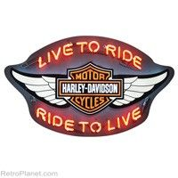 """H-D Winged Bar """"Live to Ride, Ride to Live"""" #harley #neon  http://www.retroplanet.com/PROD/31808"""