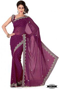 Dark Rani Color Faux Georgette Indian Saree TYS111. Sale: $133.00