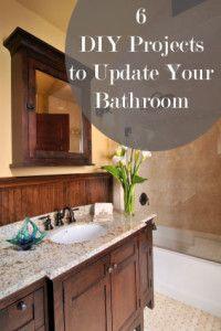 6 DIY Projects to Update Your Bathroom Love these ideas. I like the backsplash. Decor, Diy Bathroom, Home Projects, Home Hacks, Home, Home Improvement, Diy Home Improvement, Home Remodeling, Beautiful Bathrooms