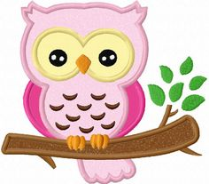 Owl On Branch Applique Machine Embroidery Design NO:0017. $2.99, via Etsy.