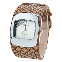 Picture of Brown Women's Snake Skin Style PU Leather Band Analog Quartz Wrist Watch