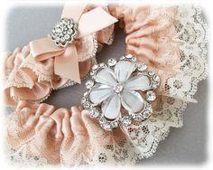 Blush Wedding Garter. Blush Bridal Garter Set, Lace Garter Set, Ivory Lace Wedding Garter Set, Blush Garter Set by GarterQueen on Etsy