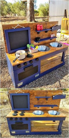 Here wonderful pallet designed mud kitchen has been given out which you can make it place in your outdoor house areas. This mud kitchen has been additionally putting the main focus over the placement of the playful activity being involved it as the best f Outdoor Play Kitchen, Mud Kitchen For Kids, Kids Outdoor Play, Backyard For Kids, Diy For Kids, Kitchen Ideas, Diy Mud Kitchen, Kitchen Tips, Outdoor Learning