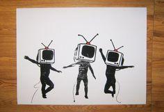 Banksy Art Custom Print 18x24  Television by daveyknew84 on Etsy