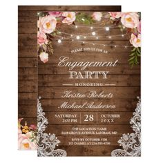 #Rustic Floral Lace String Lights Engagement Party Card - #engagement #party engagement partywedding showerwedding