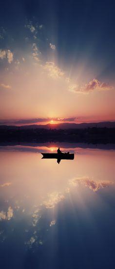 ~~Boat ~ sunset and reflections on a mirrorlike surface of a lake by Bess Hamiti~~