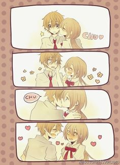 Anime Kawaii Kiss Love By by SweetKawaiiOtaku on DeviantArt Anime Kawaii, Art Kawaii, Anime Love Couple, Cute Anime Couples, I Love Anime, Anime Amor, Manga Anime, Anime People, Anime Guys
