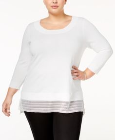 Calvin Klein Plus Size Layered-Look Sweater - White 1X