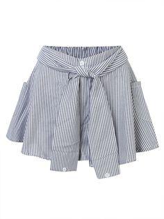 Women Vertical Stripes Fake Two High Waist A-Culottes