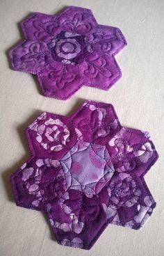 Hexie Coasters Purple Batik Fabric Coasters by LakeOneStitchery, $15.00