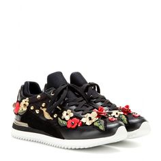 Dolce & Gabbana - Embroidered leather sneakers - We love the intricate detailing on these Dolce & Gabbana sneakers. Floral embroidery, gold-tone embellishments and crystals combine to create a wonderfully feminine look. seen @ www.mytheresa.com