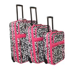 World Traveler Designer Pink Damask 3-piece Expandable Upright Luggage Set | Overstock.com