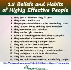 15 beliefs and habits of highly effective people