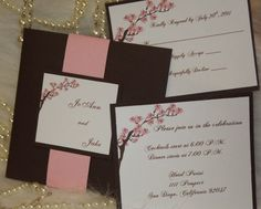 Cherry Blossom Wedding Invitation Pink and Brown by AmiraDesign, $150.00