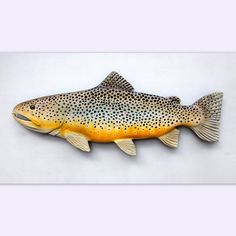 Brown Trout Folk Art Fish Wood Carving Fishing gift by WOODNARTS, $95.00