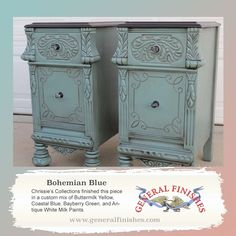 Here's a great example of what you can get when you mix General Finishes Milk Paint. Chrissie's Collection, www.chrissiescollection.com, made a custom mix of Buttermilk Yellow, Coastal Blue, Bayberry Green and Antique White. What a great combo!