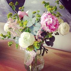 Peonies, ranunculus, eucalyptus - Mother's Day floral arrangement.