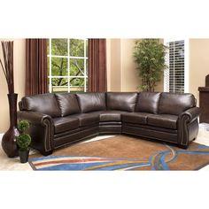 Abbyson Oxford Premium Top-grain Leather Sectional Sofa, Brown