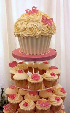 giant cupcake to top a cupcake wedding