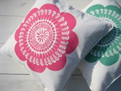 Blooming Lovely Screenprinted Cushion. Too bad not in U.S.!