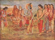 "The  Mahabharata tells the story of two sets of paternal first cousins--the five sons of the deceased king Pandu  (the five Pandavas and the one hundred sons of blind King Dhritarashtra--who became bitter rivals, and opposed each other in war for possession of the ancestral Bharata kingdom with its capital in the ""City of the Elephants,"" Hastinapura , on the Ganga river in north central India."